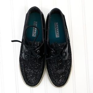 Sperry Black Glitter Sparkle Lace Boat Shoes